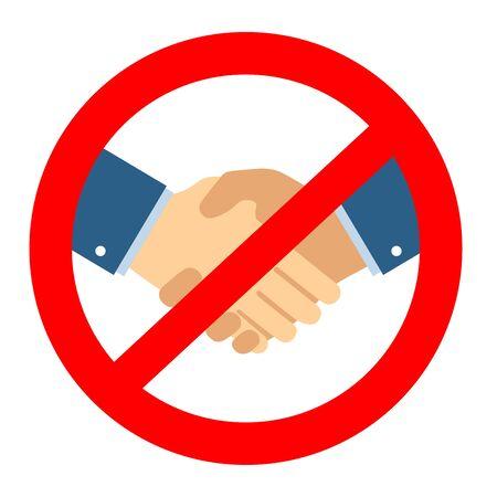 Handshake ban sign. Coronavirus pandemic restriction. Information warning sign about quarantine measures in public places. Vector illustration.