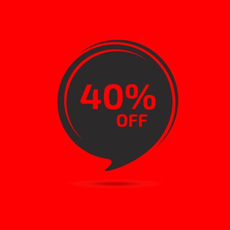 Discount banner, tag. 40 percent off. Template design. Special offer concept. 矢量图像
