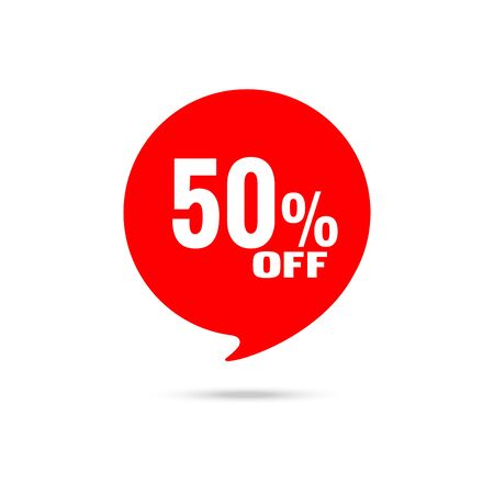 Discount banner, tag. 50 percent off. Template design. Special offer concept.