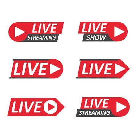Live Stream signs set. Emblem Vector Illustration