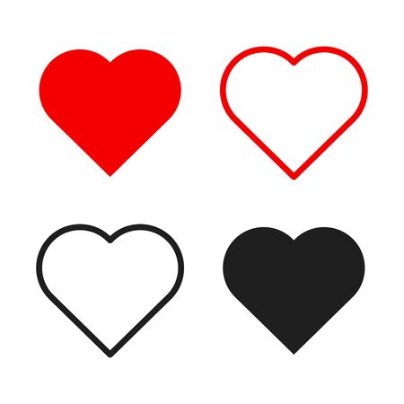 Hearts icon set. Live stream video, chat, likes. Social media like web buttons. Isolated on white background. Valentines Day. Vector illustration
