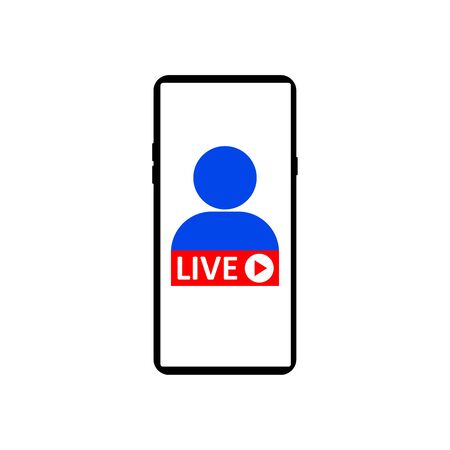 Live Streaming on smartphone. Sign of live streaming, broadcasting, online stream emblem. Concept of social media live performance