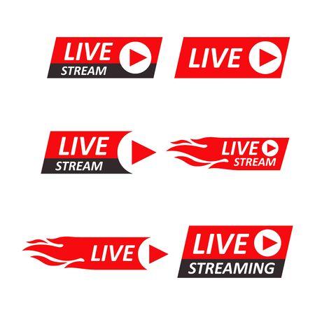 Live Stream signs set. Emblem, logo. Vector Illustration