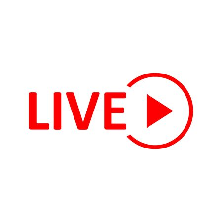 Live Stream sign. Red symbol, button of live streaming, broadcasting, online stream emblem. For tv, shows and social media live performances 矢量图像