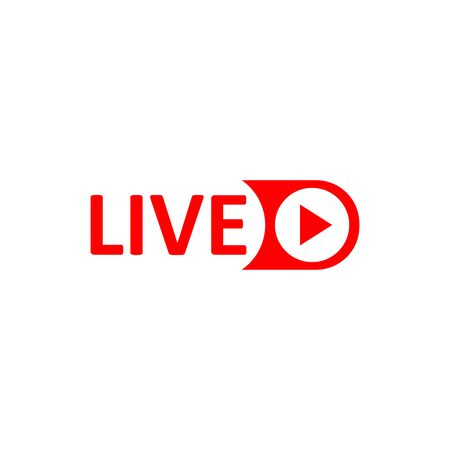 Live Stream sign. Red symbol, button of live streaming, broadcasting, online stream emblem. For tv, shows and social media live performances Vecteurs