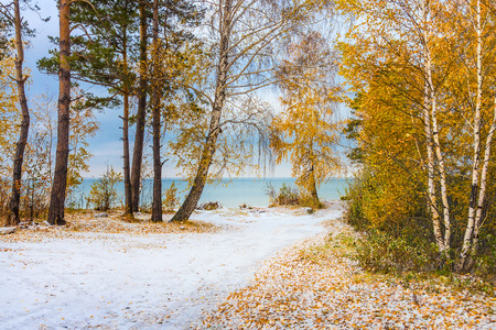 Autumn landscape with first snow. The river Ob, Novosibirsk oblast, Siberia, Russia 스톡 콘텐츠