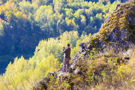 Autumn Landscape, view from the heights of the mountains. Berd rocks boules Salairsky, Novososedovo village district, Siberia, Novosibirsk region, Russia