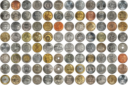 different countries: A collage of coins of different countries and themes. Old coins on a white background