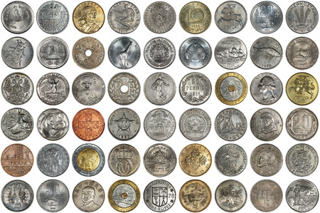 coinage: A collage of coins of different countries and themes. Old coins on a white background