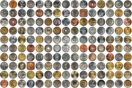Eine Collage Von Münzen Verschiedener Länder Und Themen Alte Münzen