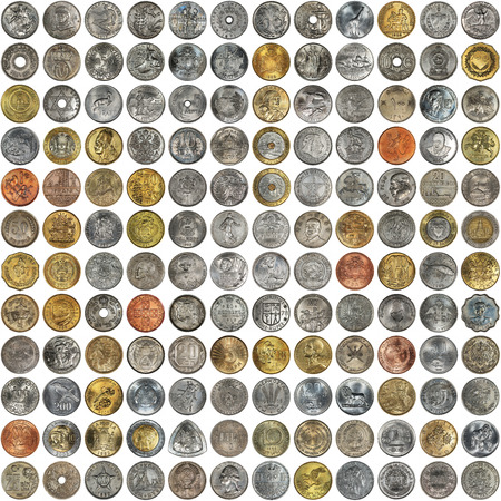 numismatics: A collage of coins of different countries and themes. Old coins on a white background