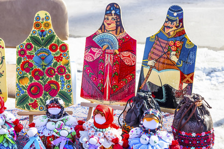 Berdsk, Novosibirsk region, Siberia, Russia - March 13, 2016: Russian holiday Maslenitsa ( farewell to winter, welcoming the spring ). Handmade traditional national Russian style show at the fair Editorial