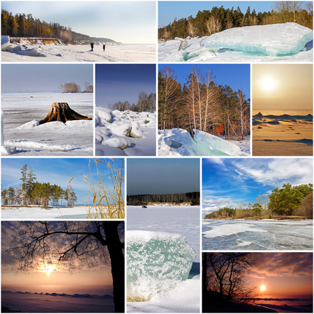 extreme weather: The Ob river in winter, Novosibirsk oblast, Siberia, Russia. A collage of photos