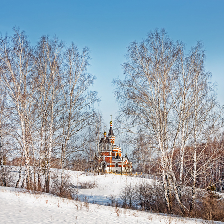 novosibirsk: Russia, Siberia, Novosibirsk Region, Iskitim, Loghok - January 6, 2016: Memorial Church, a church in honor of the New Martyrs and Confessors Russian Stock Photo