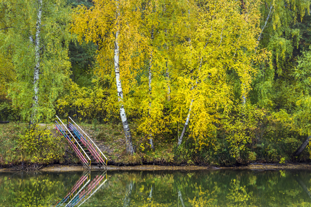 a bathing place: Stairs leading to the water. The river Separate, Novosibirsk oblast, Siberia, Russia Stock Photo