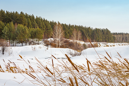 Winter landscape on the river. The Separate river ( a tributary of the Ob river ), in Novosibirsk oblast, Siberia, Russia