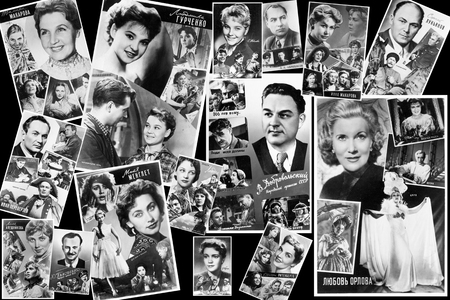 popularity: USSR - circa 1960: a collage of postcards of many popular actors of the Soviet cinema, released in 1950 - 60 years