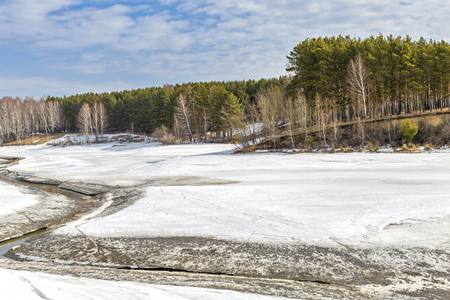 tributary: Spring landscape, the beginning of the flood, postmortem river, spring, nature, melting ice, River Separate, a tributary of the river Ob, Novosibirsk oblast, Siberia, Russia, a suburb of Berdsk