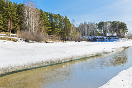 tributary: Spring landscape with melting ice on the river. The Separate river ( a tributary of the Ob river ), in Novosibirsk oblast, Siberia, Russia Stock Photo