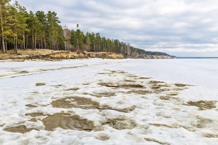 ice floe: Spring landscape with melting river ice. The river Ob, Novosibirsk oblast, Siberia, Russia