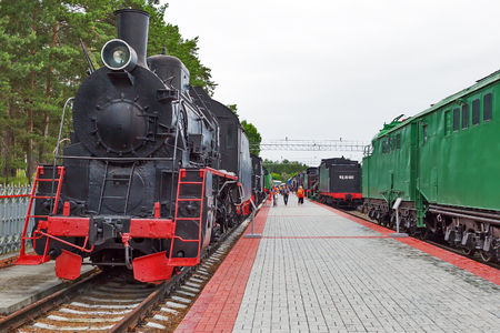 Novosibirsk Museum of railway equipment in Novosibirsk, Siberia, Russia - July 7, 2017: freight Locomotive series er No. 789-91. Built in 1953, the plant Mavag Budapest, the Hungarian peoples Republic Editorial