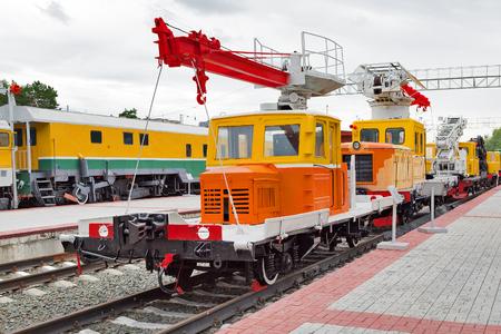 Novosibirsk Museum of railway equipment in Novosibirsk, Siberia, Russia - July 7, 2017: Vehicle AHMS 220. Built Tikhoretskaya machine-building plant in 1970 Editorial