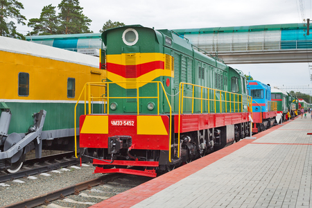 Novosibirsk Museum of railway equipment in Novosibirsk, Siberia, Russia - July 7, 2017: the Czechoslovak shunting diesel locomotive with electric transmission ( ChME 3 ). Built in 1986, the plant CKD-Prague, Czechoslovakia Editorial