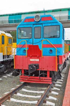 Novosibirsk Museum of railway equipment in Novosibirsk, Siberia, Russia - July 7, 2017: the diesel Locomotive ChME 2 — Czechoslovak shunting diesel locomotive with electric transmission Editorial