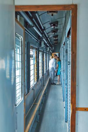 Novosibirsk Museum of railway equipment in Novosibirsk, Siberia, Russia - July 7, 2017: car for transportation of prisoners, built in 1969