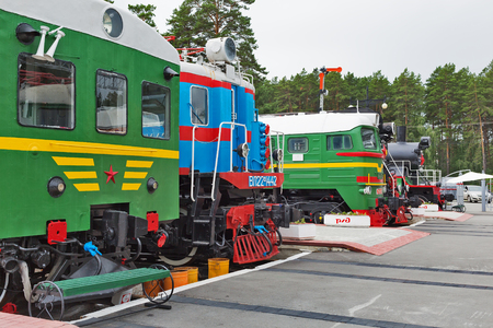 Novosibirsk Museum of railway equipment in Novosibirsk, Siberia, Russia - July 7, 2017: the Old trains worked during the Soviet era Editorial