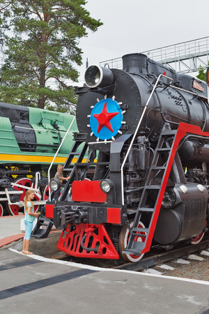 Novosibirsk Museum of railway equipment in Novosibirsk, Siberia, Russia - July 7, 2017: the Soviet mainline freight steam locomotive L series . Built by the Voroshilovgrad factory name, the October revolution in 1954