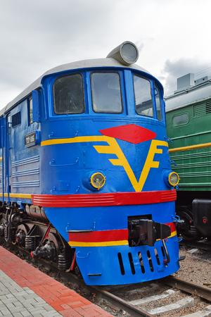 Novosibirsk Museum of railway equipment in Novosibirsk, Siberia, Russia - July 7, 2017: Mainline passenger locomotive TE 7. Built in 1964 Luhanskteplovoz