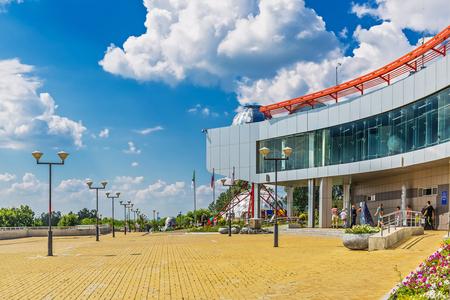 Key kamyshinskoe plateau, Novosibirsk, Siberia, Russia - August 2, 2017: the Large Novosibirsk planetarium. The building and Park area