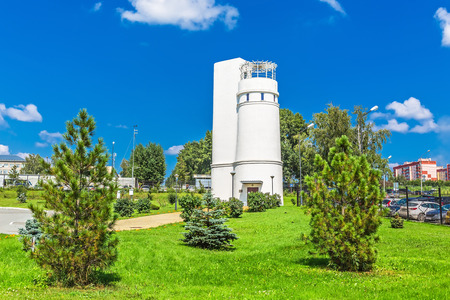 pendulum: Key Kamyshenskoe plateau, Novosibirsk, Siberia, Russia - August 2, 2017: the Tower of Foucault with a Foucault pendulum demonstrating the daily rotation of the Earth. The Large territory of the Novosibirsk planetarium