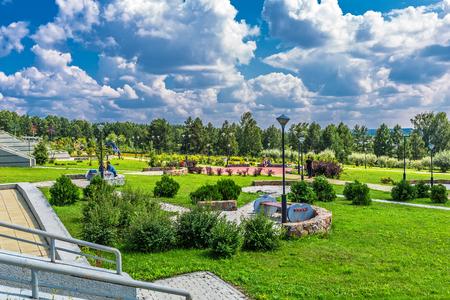 Key kamyshinskoe plateau, Novosibirsk, Siberia, Russia - August 2, 2017: the Large Novosibirsk planetarium. Astronomical Park