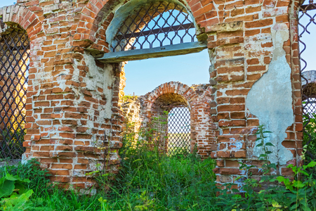 Village Legostaeva, Iskitim district, Novosibirsk oblast, Siberia, Russia - August 27, 2017: the remains of the building of Michael the Archangel Church (built in 1804) Editorial
