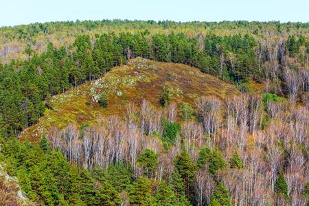 Berd rocks - nature monument of regional value. Autumn landscape. Novososedovo, Siberia, Novosibirsk oblast, Russia Stock Photo
