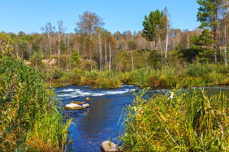 Suenginskiy waterfall. Gold river Suenga, Maslyaninsky district, Novosibirsk oblast, Siberia, Russia