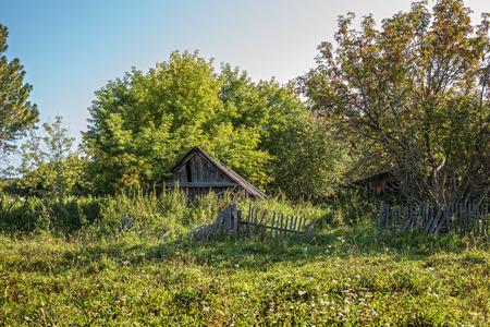 Suenga village, Maslyaninsky district, Novosibirsk oblast, Siberia, Russia - August 27, 2017: old abandoned wooden house