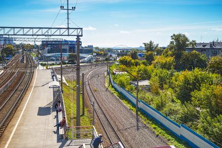 2017 年 9 月 17 日シベリア, ロシア連邦 - ノヴォシビルスク市: 鉄道部ノヴォシビルスク駅右 Obと「センター」