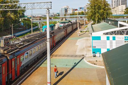 2017 年 9 月 17 日シベリア, ロシア連邦 - ノヴォシビルスク市:右 Obノヴォシビルスク市の鉄道駅 報道画像