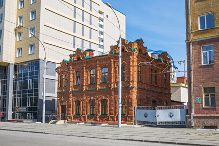 Novosibirsk, Siberia, Russia - September 17, 2017: Brick house - a monument of architecture (year of construction 1900), street Michurina No. 6