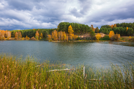 Autumn landscape. The Separate river (a tributary of the Ob river), Berdsk, Novosibirsk oblast, Siberia, Russia Banco de Imagens