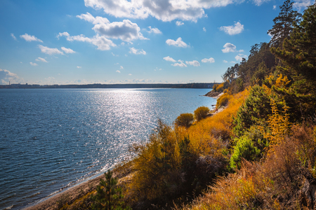 City Park Berd spit with a sandy coast on the confluence of the rivers Berdi and Obi. Berdsk, Novosibirsk oblast, Siberia, Russia