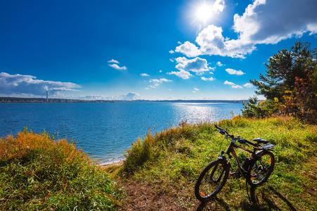 Berdsk, Novosibirsk oblast, Siberia, Russia - October 7, 2017: the City Park Berd spit. Bike the coast Stock Photo