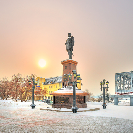 Novosibirsk, Siberia, Russia - Feb 4, 2018: the Monument to Russian Emperor Alexander III on the embankment of the Ob river in the Park