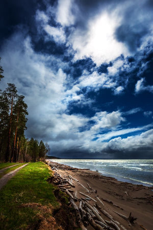 Coast and the Ob river during stormy weather. Novosibirsk region, Ob reservoir, Western Siberia, Russia