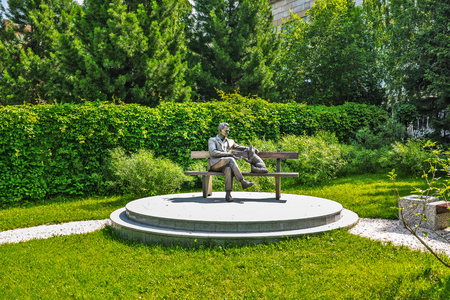 Novosibirsk, Western Siberia, Russia-June 2, 2018: monument to academician D. K. Belyaev at the Institute of Cytology and genetics
