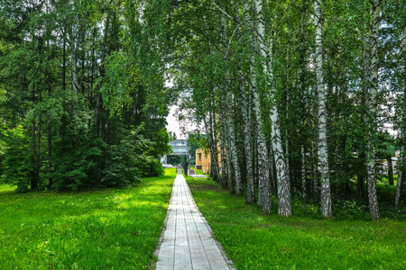 Novosibirsk, Western Siberia, Russia-June 2, 2018: Path through the Park on the territory of the Institute of Cytology and genetics