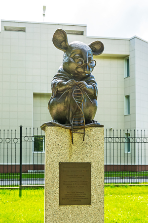 Novosibirsk, Western Siberia, Russia-June 2, 2018: laboratory mouse Monument in the square of the Institute of Cytology and genetics